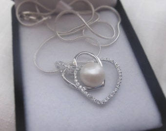 Exquisite, White, Freshwater Pearl Pendant Heart, Silver Necklace