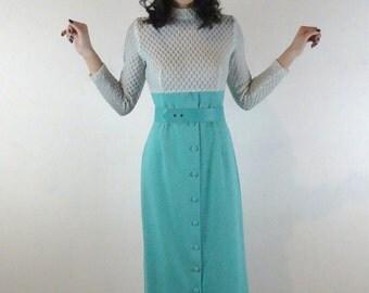 1970's light blue empire waist maxi dress