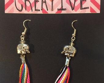 Rainbow Tassel Elephant Earrings