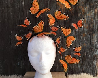 Butterfly Fascinator, Butterfly Headpiece, Butterfly Headdress, butterfly headband, Butterfly Crown, Statement, Hand Painted, festival