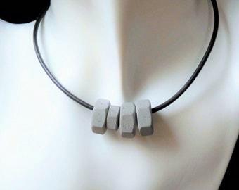 Concrete necklace * industrial * grey & metallic