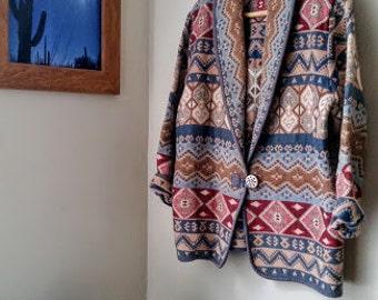 Vintage ethnic southwestern tribal hippie jacket// boho bohemian gypsy festival blazer