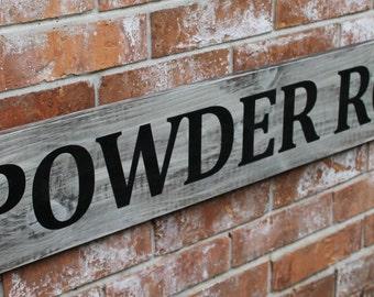 Powder Room Sign, Black and White Sign, Elegant Powder Room, Restroom Decor, Bathroom Sign, 8X48 Sign,
