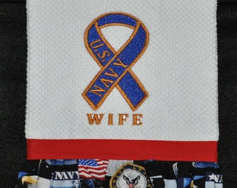 "Embroidered Dish Towel ""ARMY WIFE RIBBON"""