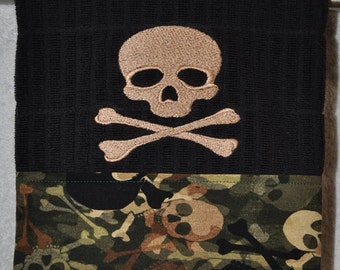 "Embroidered Dish Towel  ""Skully"""