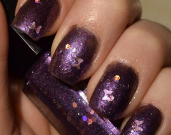 SALE!! Nail Polish - Royal Purple// Glitter Nail Polish// Halloween Purple// Homemade// Nail Lacquer