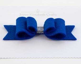 BlueBlue Large Felt Hair Bow, 100% Wool Felt