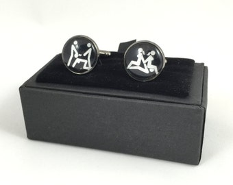 Double Threesome Figures Cuff Links
