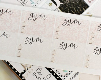 Glam Rose Gold Spade Checklist for Gym Exercise Workout Girly Planner Stickers
