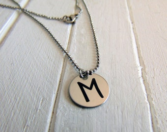 "Initial Necklace- Personlized Charm Pendant, Add On Option- Engraved - 5/8"" Cirlce Pendant - Stainless Steel, No Tarnish, Child's Initials"
