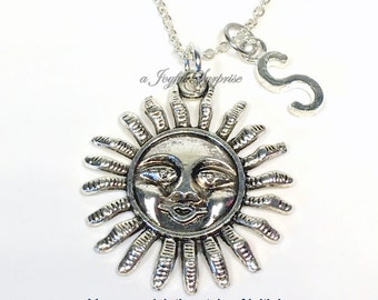 SALE  Smiling Sun Necklace, Sun Jewelry, Gifts for Sunshine Gift, Summer Jewelry, Solar Gift, Sunny Positive Vibes Necklace with initial 14