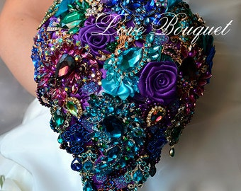 Bridal Bouquet Brooch Bouquet Wedding Dress Wedding Jewelry Wedding Bouquet Purple Wedding Turquoise Bouquet Wedding Earrings Purple Bouquet