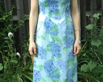 1980's/1990's Deadstock Blue and Green Strapless Gown, Adrianna Papell