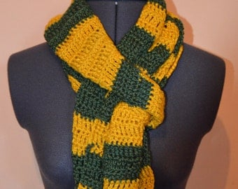 Crochet yellow and green Norwich City scarf