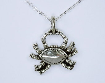 Cancer - crab charm on silver link chain - necklace Zodiac