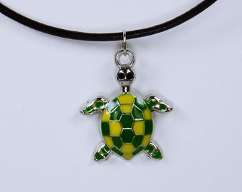 Necklace turtle men - unisex mens necklace on a black leather strap with green enamel turtle turtle jewelry