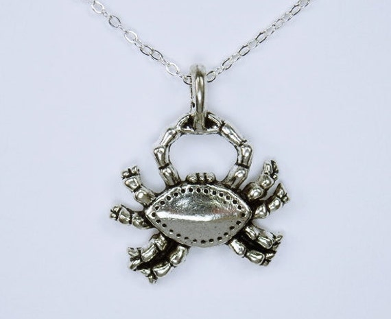 Necklace Cancer-Crab pendant on silver link necklace Zodiac Jewelry