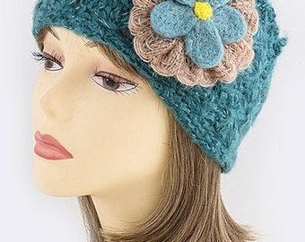 Floral Knit Head Wrap, Head Piece, Beanie, floral headband, ear warmer, knitted headband, thick headband,