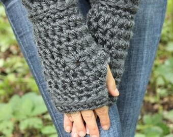 Grey Fingerless Gloves, Grey Crochet Gloves, Grey Wristwarmers, Grey Gloves, Grey Mittens, Grey Crochet Gloves,Grey Arm Warmers THE STARLING