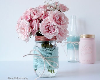 Mothers Day Gift for Her /Wedding Centerpiece / Mason Jars / Burlap / Vase / Decoration / rustic wedding / baby shower / 1 pint with burlap