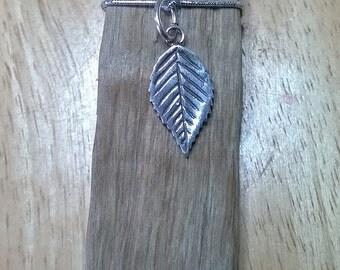 Fine silver beech leaf pendant