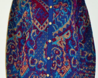 VINTAGE PAISLEY SWEATER Vintage Knit Cardigan, Paisley Print, Vintage Sweater, 80s, 90s, retro, Button Up, Navy, Gold, Burgundy, Long Sleeve