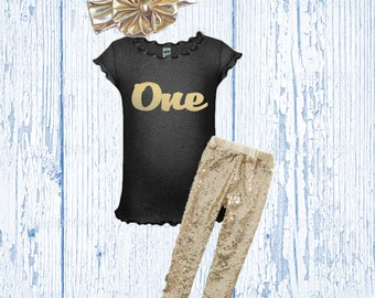 First Birthday Outfit - Girl's Birthday Outfit - Glitter Gold Birthday Outfit