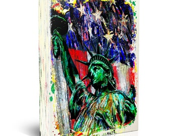 Statue of Liberty Canvas Art, USA Canvas, American Flag painting