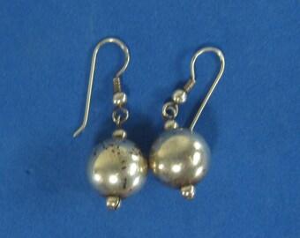 Vintage Sterling Silver Ball Dangle Earrings Pierced Style