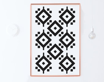 Black and White Geometric Wall Art Print-Geometric Art-Printable Wall Art-Living Room-Large Art 24x36-Moroccan Pattern Art-INSTANT DOWNLOAD