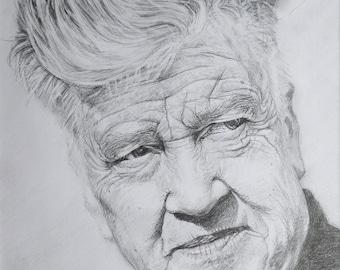 SALE - Pencil portrait of David Lynch
