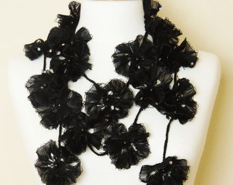 Flower Scarf, Black Scarf, Long Flower Necklace, Black Lariat Necklace, Lariat Scarf