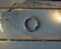 Sterling silver Ouroboros pendant - Silver snake pendant - Snake eating tail - Snake talisman