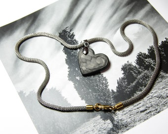 Heart pendant. Handmade carbon fiber necklace pendant. Valentines heart.