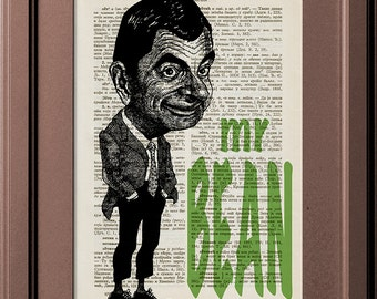 Mr Bean With Tie In Suit, Mr Bean Headline, Vintage Book Page Print, Dictionary Page Print