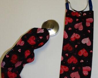 Hearts On Black Stethoscope Cover/Scope Coat