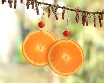 Decoupage orange earrings, Orange fruit earrings, big bohemian earrings, boho style, large oranges, summer earrings