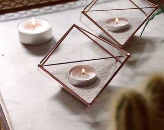 Geometric glass candle holders. Sacred geometry. Gift. Christmas table. Geometric terrarium. Stained glass. Candle. Succulents. Decor.