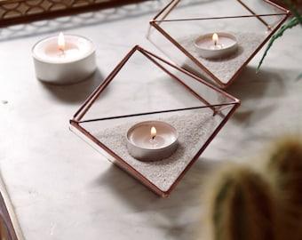 Photophores géométriques en verre. Géométrie sacrée. Cadeau. Terrarium géométrique .Vitrail Tiffany. Bougeoirs. Bougies. Cire. Cactus