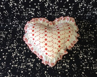 Fluffy Feelings~Vintage Heart Shape Pillow~Red Flowers~Ruffle~Stitched~Flowers and Vines~Romantic~Bedroom Decor