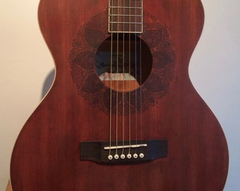 Mustang Sally Guitar Co - Mahogany Acoustic Guitar with Henna Design Around Sound Hole
