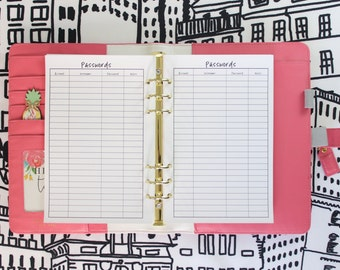 Printed Password Tracker Half Letter Planner Inserts