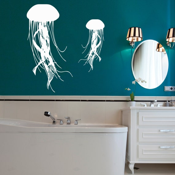 jellyfish wall decal sea ocean animal vinyl by. Black Bedroom Furniture Sets. Home Design Ideas