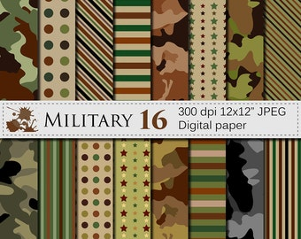 Military Digital Paper,  Camouflage Digital Papers, Army Stripe Star Polka Dot Scrapbook Papers, Instant Download