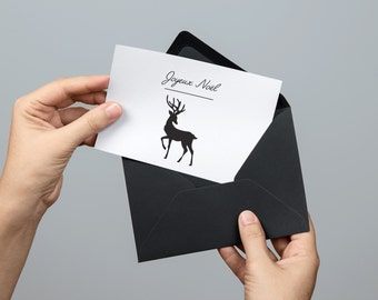 Greeting Card Christmas, Merry Christmas - Reindeer black and white