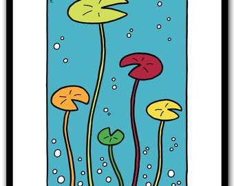 Water lilies, modern wall art print, under water, green, yellow, red, Limited edition of 50 prints