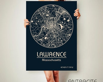 LAWRENCE Massachusetts CANVAS Map Lawrence Massachusetts Poster City Map Lawrence Massachusetts Art Print Lawrence Massachusetts