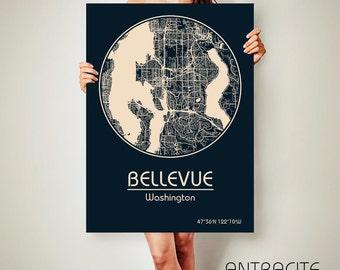 BELLEVUE Washington CANVAS Map Bellevue Washington Poster City Map Bellevue Washington Art Print Bellevue Washington poster Bellevue