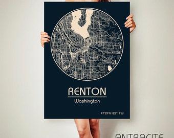 RENTON Washington CANVAS Map Renton Washington Poster City Map Renton Washington Art Print Renton Washington