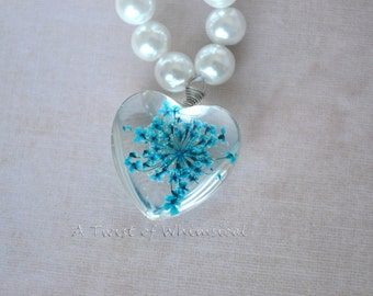 Pressed Flower Pearl Necklace